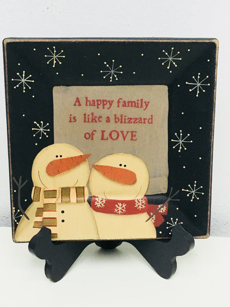 Primitive A Happy Family Snowman Plate - BJS Country Charm