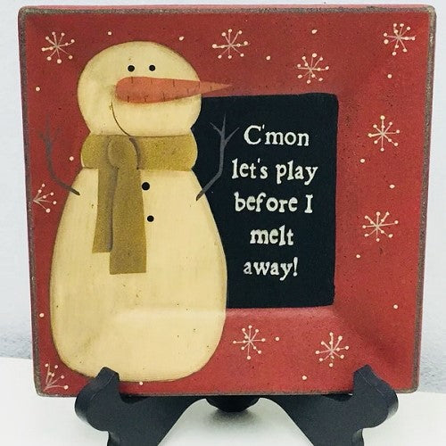 Primitive Let's Play Snowman Plate 8""