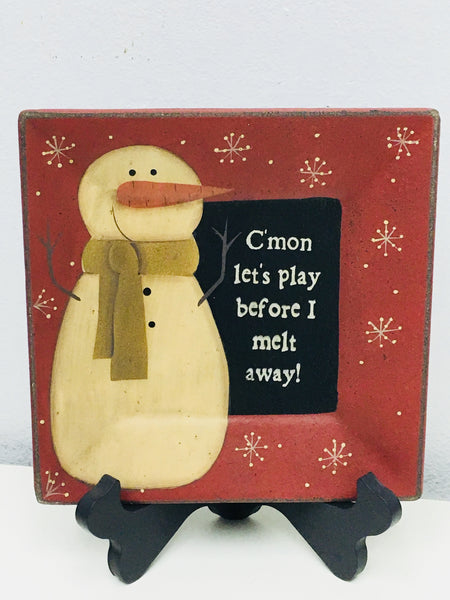 Primitive Lets Play Snowman Plate