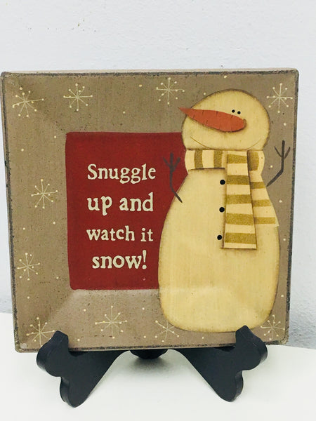 Primitive Snowman Plate Snuggle up