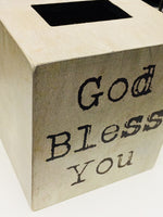 Wooden God Bless You Tissue Box Cover - BJS Country Charm