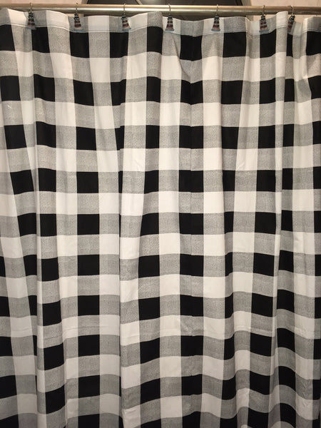 Handmade Buffalo Check Black and White Shower Curtain