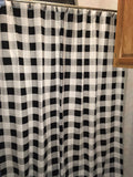 Farmhouse Black and White Buffalo Check Shower Curtain - BJS Country Charm