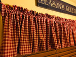 Rustic Country Primitive Barn Red Check Homespun Valance - BJS Country Charm