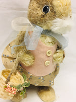 Country Primitive Farmhouse Girl Sisal Easter Bunny With Basket - BJS Country Charm