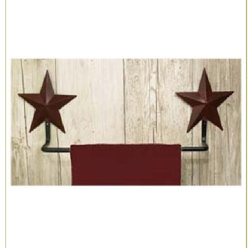 Country Primitive Burgundy Barn Star Towel Bar - BJS Country Charm