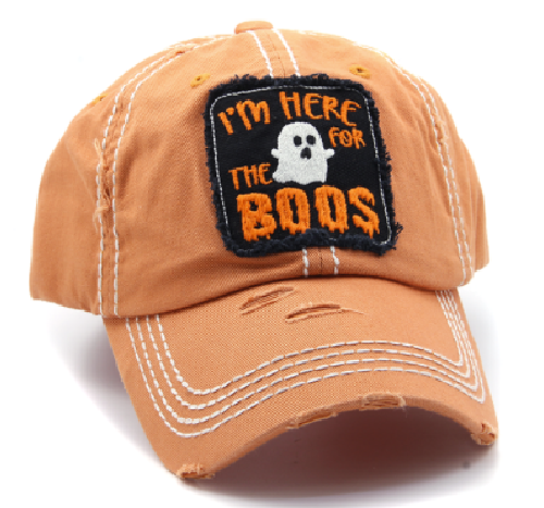 I'm Here for the Boos Halloween Baseball Hat Orange