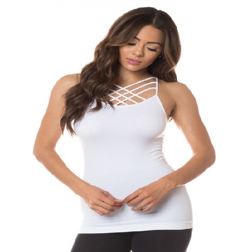 White Crisscross Cami Top - BJS Country Charm