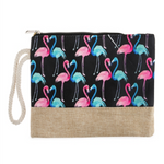 Flamingo Printed Cosmetic Bag Wristlet Pouch - BJS Country Charm