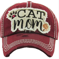 Burgundy Cat Mom Baseball Hat