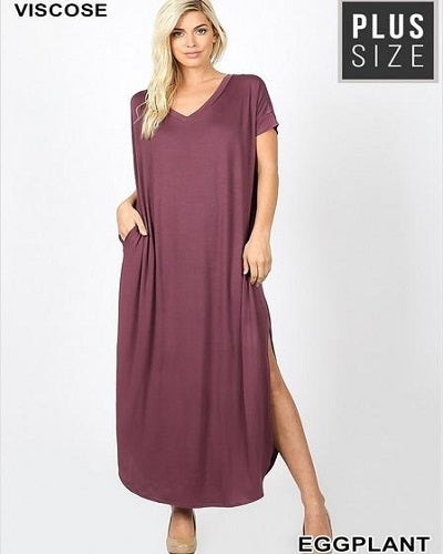 Plus size V neck Maxi Dress with Pockets