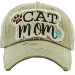 Khaki Cat Mom Baseball Hat