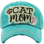 Turquoise Cat Mom Baseball Hat