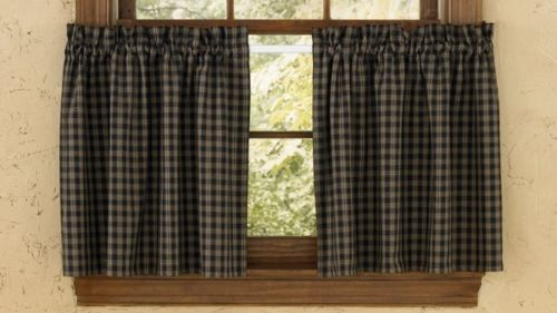 Sturbridge Black Plaid Primitive Curtain Tiers
