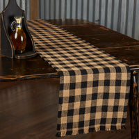 Burlap Black Check Table Runner