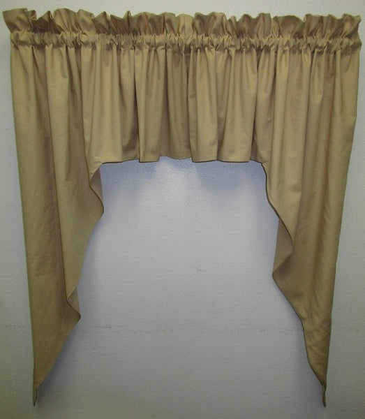 Handmade Country Primitive Tea Stained Muslin Swag Curtains