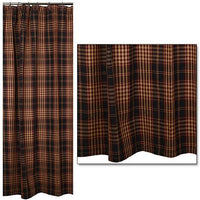 Country Primitive Village Plaid Shower Curtain
