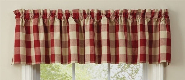 Primitive Wicklow Garnet Buffalo Check Valance - BJS Country Charm
