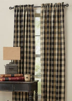 Primitive Wicklow Black Curtain Panels - BJS Country Charm