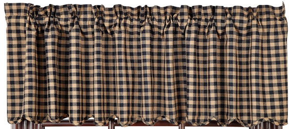Black Check Scalloped Valance