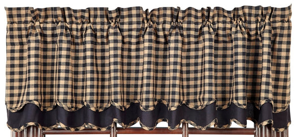 Black Check Scalloped Layered Valance