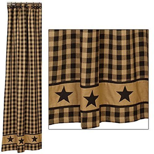 Primitive Black Country Star Shower Curtain