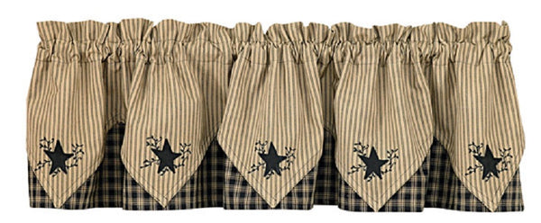Sturbridge Black Plaid Star Pointed Valance