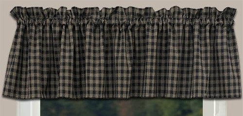 Country Primitive Black Sturbridge Plaid Valance - BJS Country Charm