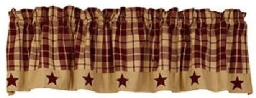 Burgundy Farmhouse Star Valance
