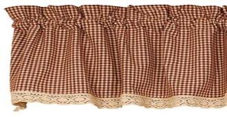 Primitive Burgundy Granny's Check Valance - BJS Country Charm
