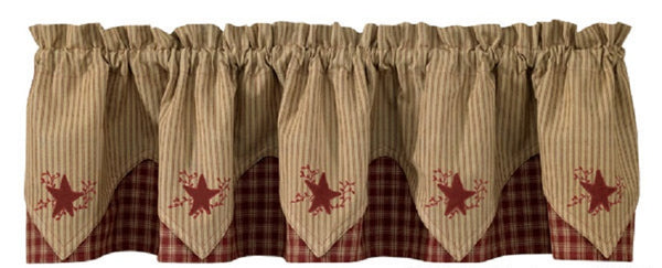 Country Primitive Burgundy Star Pointed Valance - BJS Country Charm