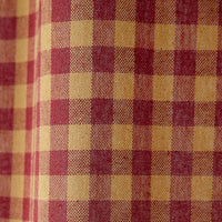primitive burgundy check scalloped swags
