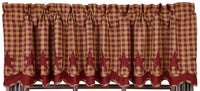 Burgundy Star Scalloped Layered Valance - BJS Country Charm