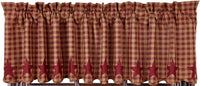 Country Primitive Burgundy Star Scalloped Valance