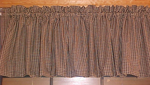 Country Primitive Black & Tan Gingham Homespun Valance Handmade - BJS Country Charm