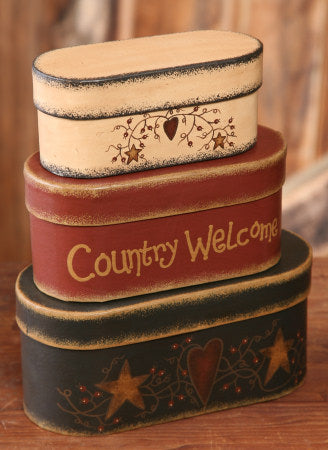 Primitive Country Welcome Nesting Boxes