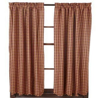 Country Primitive Burgundy Check Scalloped Curtain Panels - BJS Country Charm