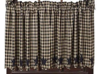 Black Star Scalloped Tier Curtains