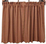 Burgundy Check Scalloped  Homespun Tier Curtains