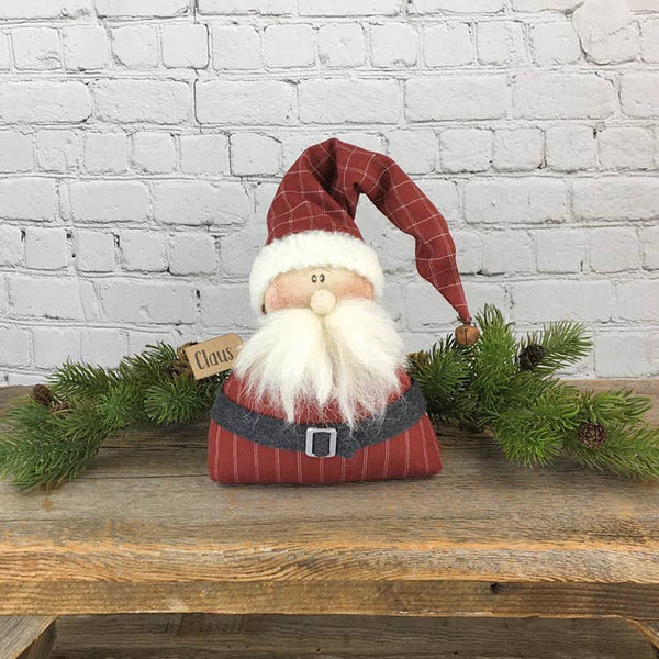 Country Primitive Whimsical Sitting Santa Claus