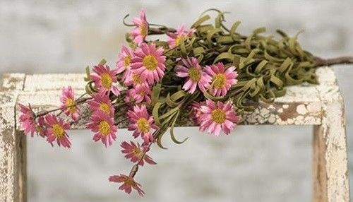 Country Primitive Pink Daisy Stem Faux Floral Spring Flowers Farmhouse Decor