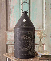 Country Primitive Rustic Brown Large Revere Punched Tin STAR Lantern Light - BJS Country Charm
