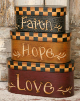 Country Primitive Nesting Boxes Faith Hope Love