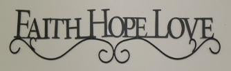 Country Primitive Faith Hope Love Scrolled Wall Sign Farmhouse Decor