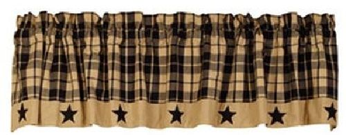 Primitive Farmhouse Star Black Valance