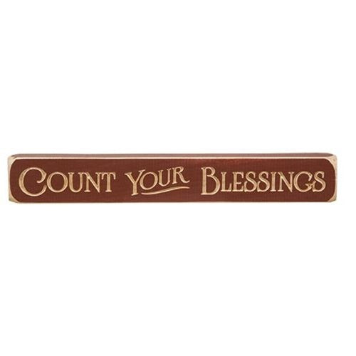 "Primitive Count Your Blessings Engraved Sign 12"" - BJS Country Charm"