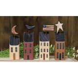 Country Primitive Americana Saltbox Houses - BJS Country Charm