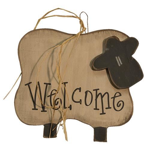 Country Primitive Folk Art Wooden Welcome Sheep Hanger - BJS Country Charm