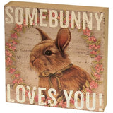 Primitive Farmhouse Easter Bunny Box Sign - BJS Country Charm