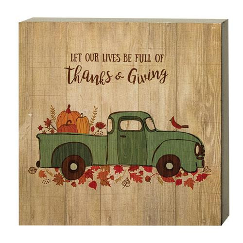 Fall Thanks & Giving Box Sign - BJS Country Charm